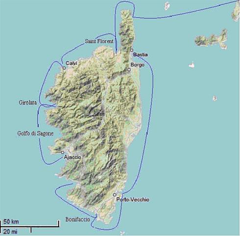 ecco di massima le tappe del giro della Corsica a vela